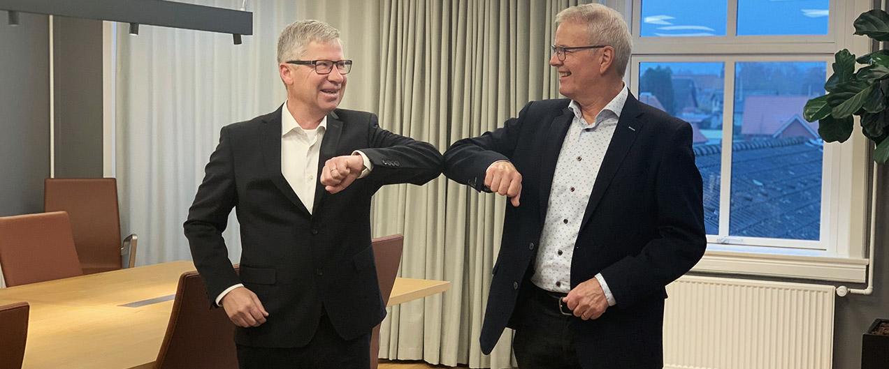 Ny administrerende direktør i Frøs Sparekasse Max Hovedskov med bestyrelsesformand Jørgen Kring